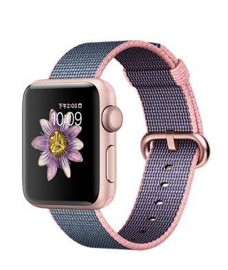 【鐵樂瘋3C 】(展翔) ● Apple Watch 【38mm錶殼/Series 2】玫瑰金色鋁金屬錶殼搭淡粉色配午夜藍色尼龍織紋錶帶