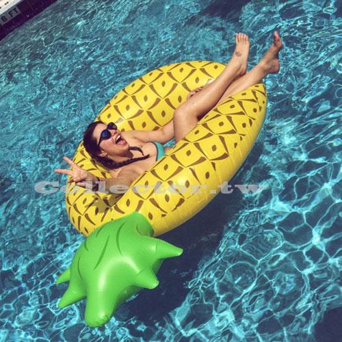 【C16080201】夏季鳳梨菠蘿造型泳圈-180公分 成人 充氣浮圈救生圈加大加厚泳圈