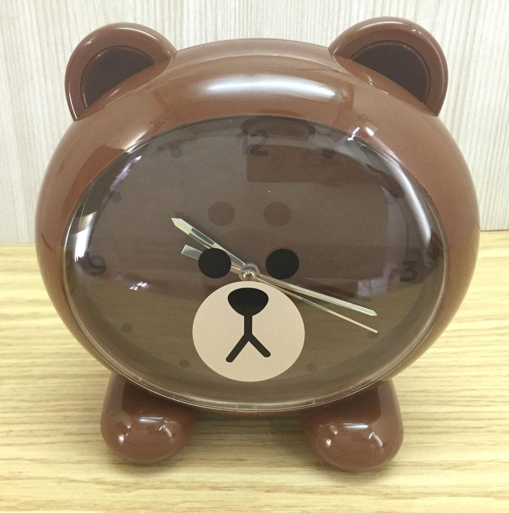 【真愛日本】16082700002立體頭造型鬧鐘-熊大  LINE公仔 饅頭人兔子熊大 造型時鐘 鬧鐘