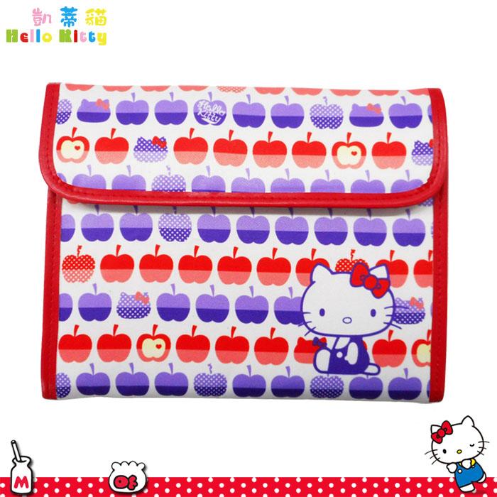大田倉 日本進口正版 hello kitty 凱蒂貓 三麗鷗 蘋果圖案 多功能收納包 多用途 多夾層 魔鬼氈 860585