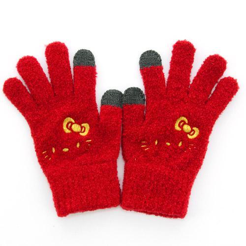 【真愛日本】15102600030 保暖手套可觸控-電繡大臉金結紅 KITTY 凱蒂貓 三麗鷗 保暖手套 冬天禦寒