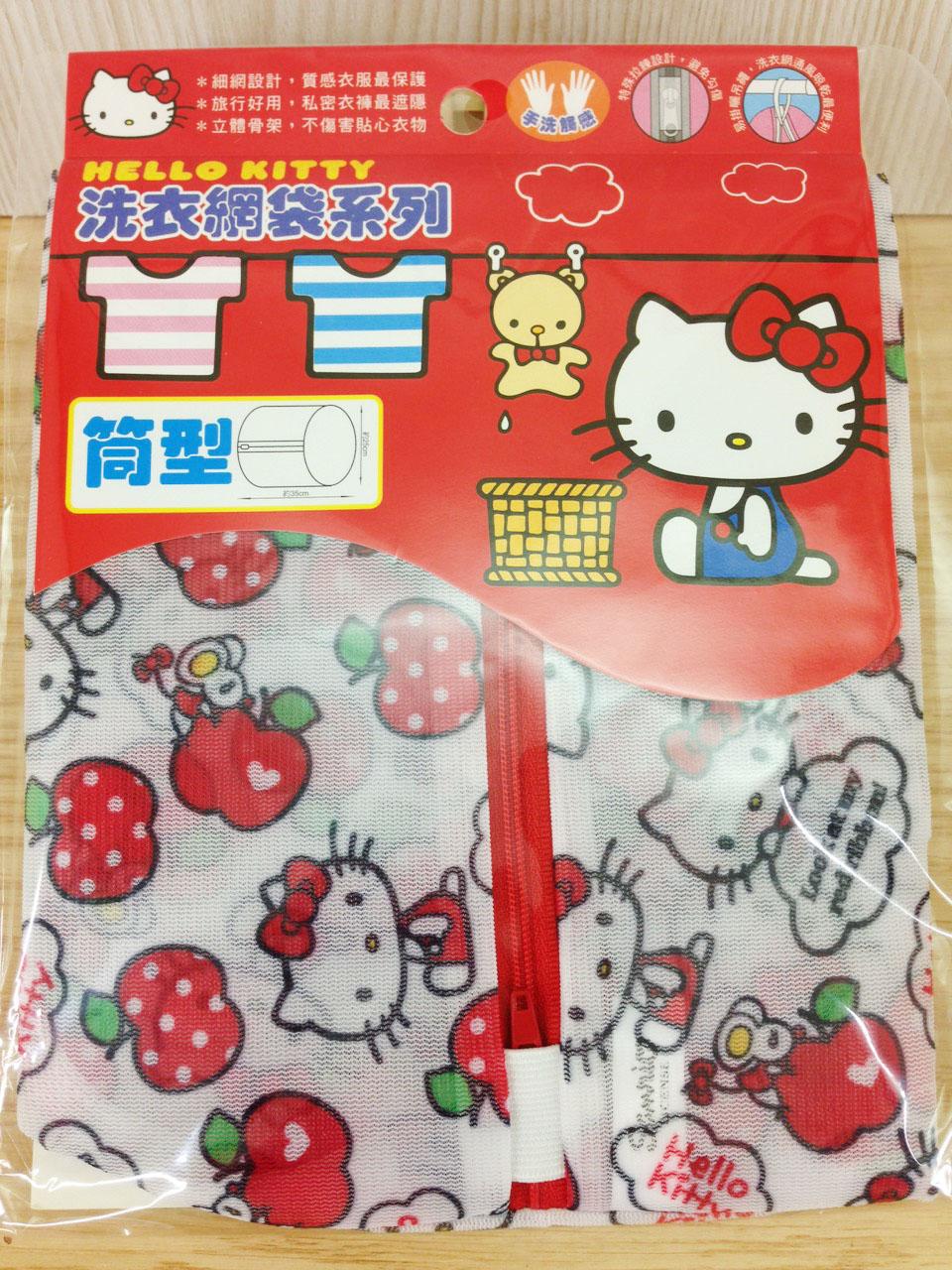【真愛日本】16011200001洗衣網袋-筒型25*35蘋果  三麗鷗 Hello Kitty 凱蒂貓 洗衣袋 日用品 89元