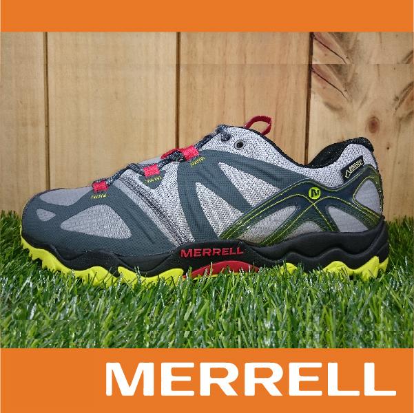 萬特戶外運動 MERRELL GRASSBOW GORE-TEX防水 男款低筒登山健行鞋 抓地大底 灰黃紅