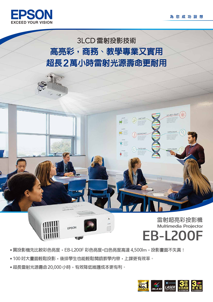 【妮可3C】EPSON 愛普生 EB-L200F  4500流明  3LCD FHD商務雷射投影機 上網登錄享三年保固