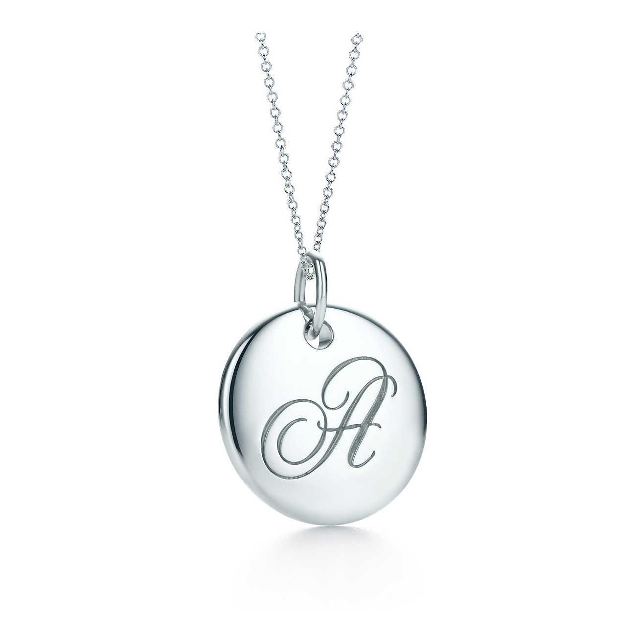 美國百分百【全新真品】Tiffany & Co. 項鍊 字母 圓形 鍊墜 純銀 墜飾 吊飾 銀飾 禮物 精品 C666