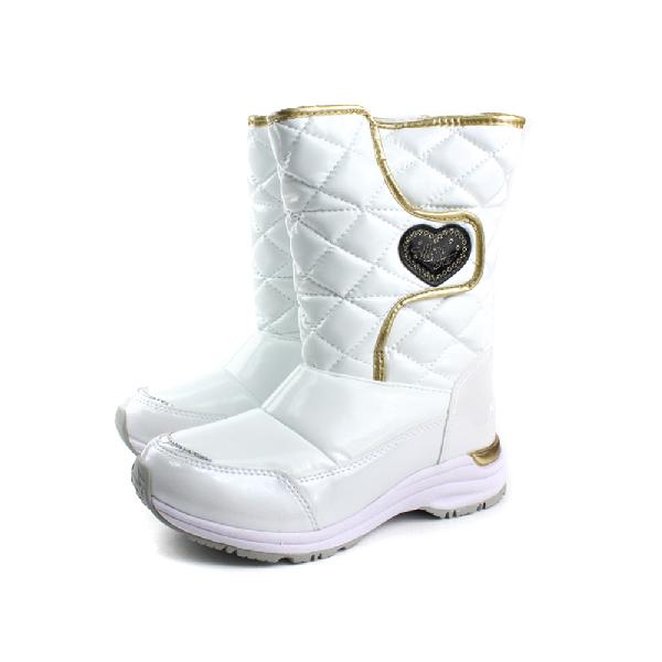 Moonstar小淑女鞋 高筒 靴子 雪靴 膠底 防滑 秋冬 戶外休閒鞋 白色 大童 no015