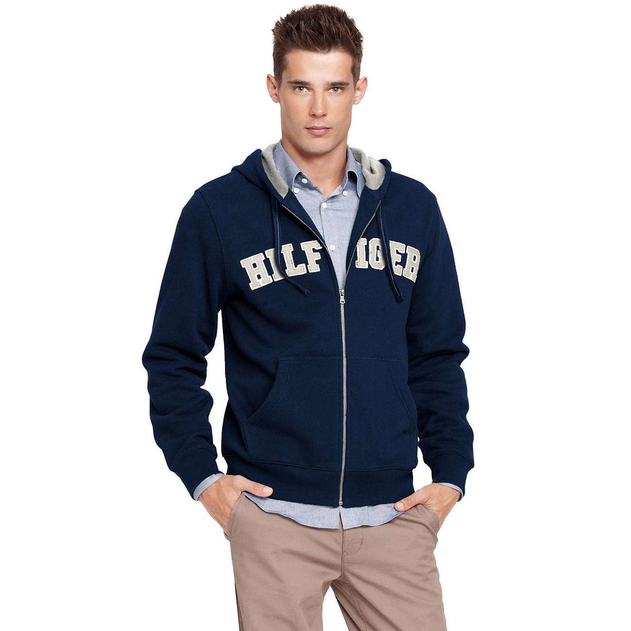 美國百分百【全新真品】Tommy Hilfiger 外套 TH 連帽外套 夾克 深藍 經典 Logo 男 S號 C017