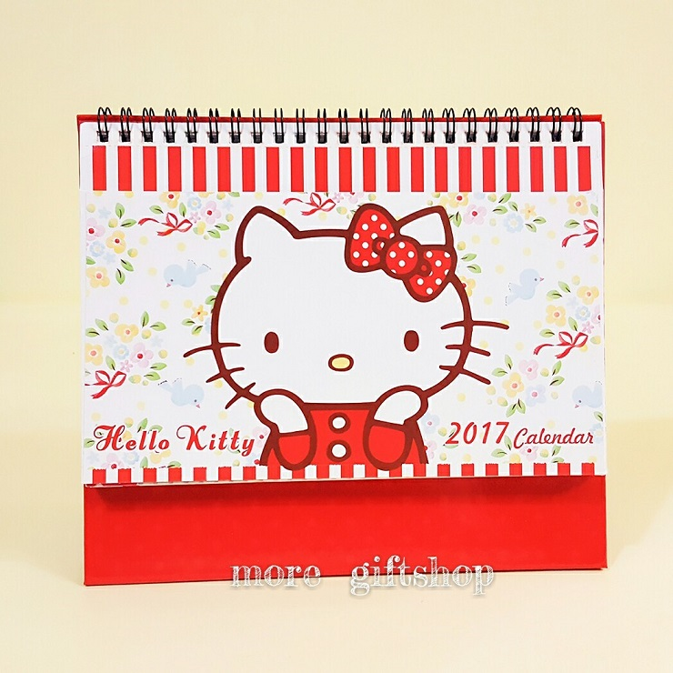 【more 禮品小舖】凱蒂貓Hello Kitty 2017年Calendar 三角檯月曆/民國106年三角立型桌曆/月曆年曆