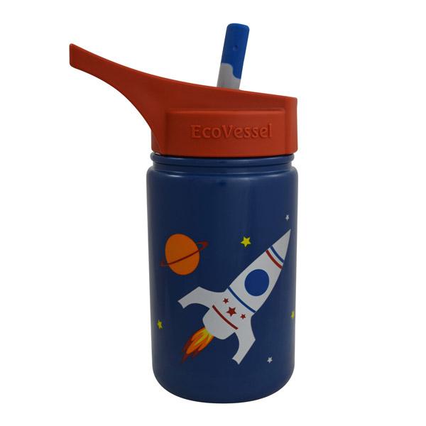 ★衛立兒生活館★美國 Eco Vessel 兒童大口徑不銹鋼吸管水壺400ml-火箭藍