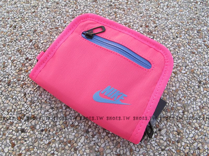 Shoestw【AC3781635】NIKE 零錢包 皮夾 運動皮夾 男女都可 桃藍色