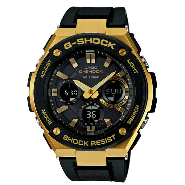 CASIO G-SHOCK GST-S100G-1A黑金絕對強悍雙顯腕錶/52.4mm