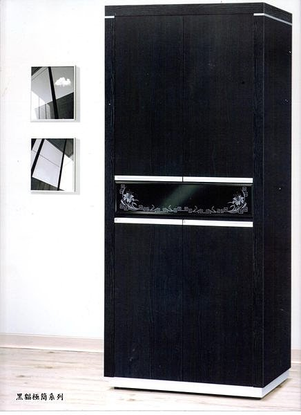 【尚品傢俱】432-01 黑貓極簡鐵刀木3*6鞋櫃/置物櫃