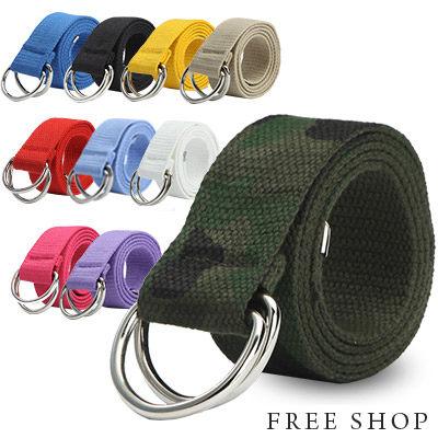Free Shop【QTJX3004】潮流街頭風格多色系百搭款雙環釦帆布皮帶‧十色 迷彩