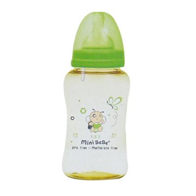 【奇買親子購物網】mini BeBe 小蜜蜂 PES防脹氣寬口胖胖瓶300ml/10oz-(綠/橘)