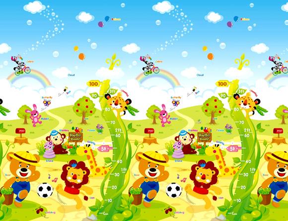 【淘氣寶寶】【原裝進口】韓國製 帕龍 爬行地墊 安全無毒防水抗菌 單面包邊 (PE 140*185*1.2 cm) 彩虹足球小熊運動員