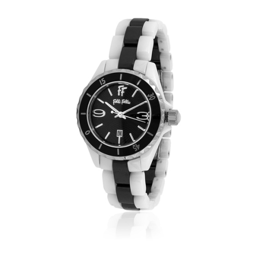 Folli Follie 耀眼奪目時尚晶鑽陶瓷錶/白*黑/WF7F042BDK