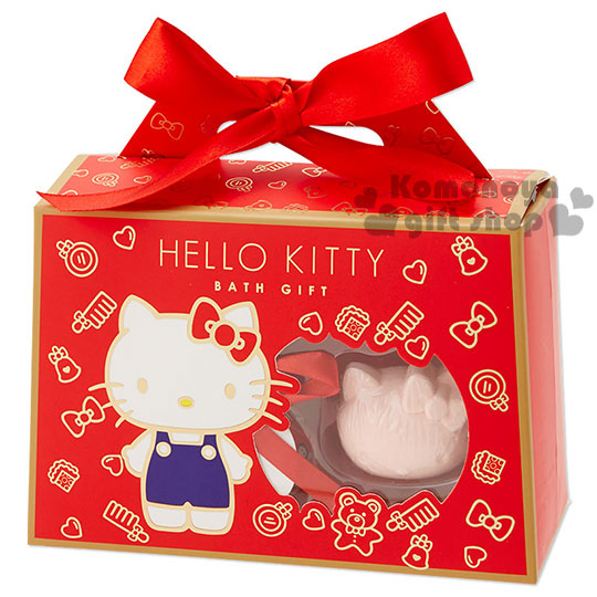 〔小禮堂〕Hello Kitty 沐浴組禮盒《M.紅.站姿.鏡梳》可愛緞帶設計