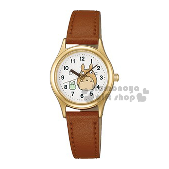 〔小禮堂〕宮崎駿 Totoro 龍貓 SEIKO ALBA 皮革淑女錶《金邊.小龍貓.淺棕錶帶》日本精工錶