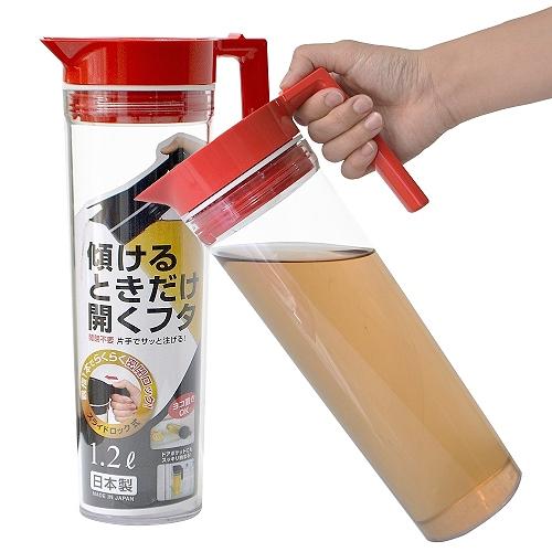 【促銷】日本製造OSK可倒放1200cc非玻璃纖細冷水壺(紅色)☆☆☆☆☆售價499,79折↘特價394