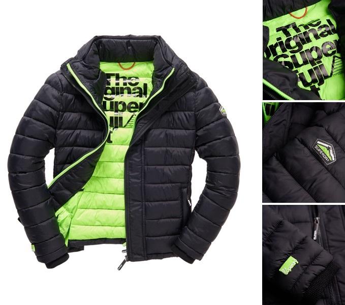 男款 極度乾燥 Superdry 經典黑綠保暖外套 羽絨 防風 超輕質 螢光綠潮流必備