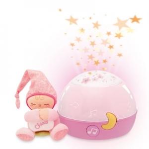 義大利【Chicco】舒眠星星投射夜燈(粉)