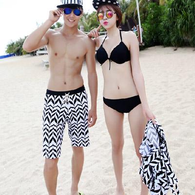 泳衣 幾何圖案三件式比基尼海灘褲情侶泳裝【O2932】(男裝)☆雙兒網☆