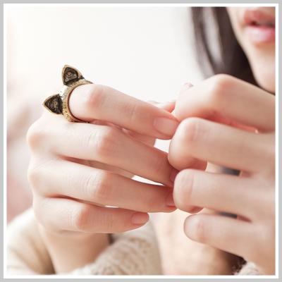 ☆雙兒網☆Lazy or pretty 【o2065】韓國特搜款萌系貓咪耳朵戒指