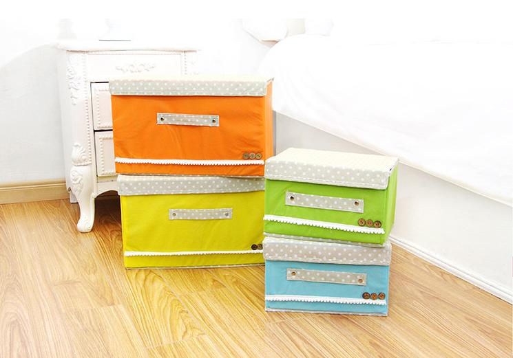 蝴蝶結無紡布收納箱 創意扣扣收納箱兩件套 整理箱 衣物收納盒