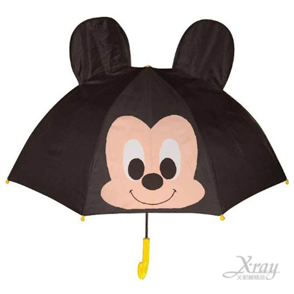 X射線【C349519】迪士尼米奇兒童造型直傘(咖啡.造型頭型.立體耳朵) ,雨傘/雨具/晴雨兩用