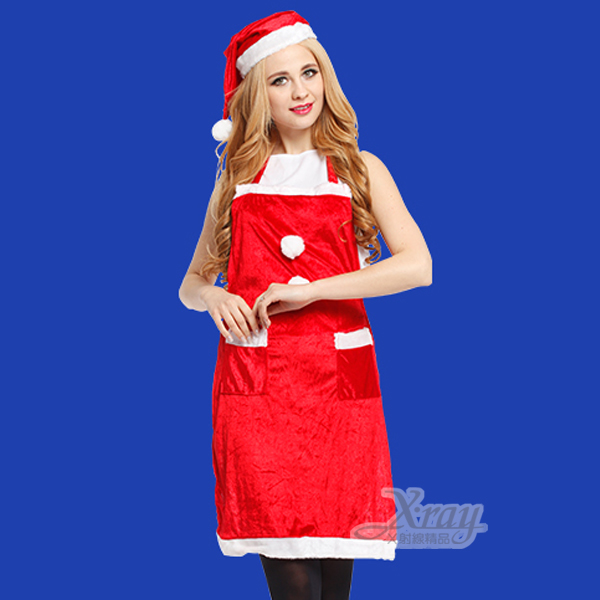 X射線【X657717】二件式聖誕圍裙加口袋(附帽子),聖誕裝/聖誕老公公裝/聖誕帽/聖誕襪
