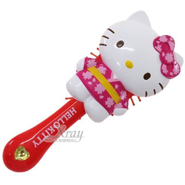 X射線【C005452】Hello Kitty 造型梳《紅.和服》,圓梳/健康按摩梳/氣囊梳子