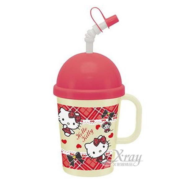 X射線【C256103】kitty塑膠吸管雪克杯(紅.格紋),製冰沙罐/思樂冰/有把手/馬克杯/製冰沙好方便/杯子