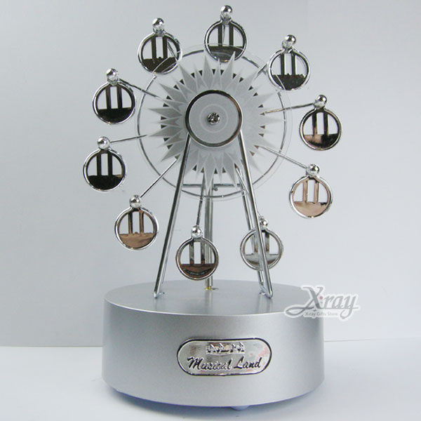 X射線【Y00004】迷你摩天輪音樂鈴擺飾(銀色款),情人節/禮物/擺飾禮品