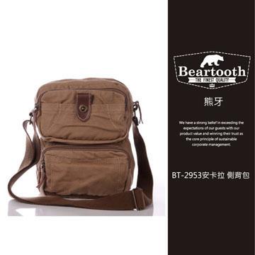 預訂【騷包館】【Beartooth】熊牙 大地風格 天然棉質帆布 牛皮縫製 BT-2953 安卡拉 帆布側背包 卡其
