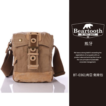 預訂【騷包館】【Beartooth】熊牙 大地風格 天然棉質帆布 牛皮縫製 BT-0361 肯亞 帆布側背包 卡其