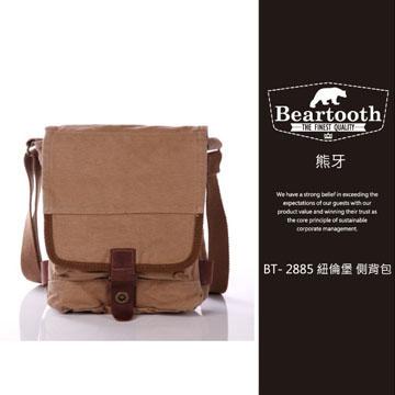 預訂【騷包館】【Beartooth】熊牙 大地風格 天然棉質帆布 牛皮縫製 BT- 2885 紐倫堡 帆布側背包 卡其