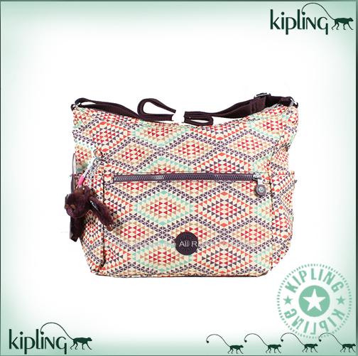 【騷包館】【Kipling】BASIC系列 比利時側口袋彎月斜背包 萬花筒 K-375-0623-008