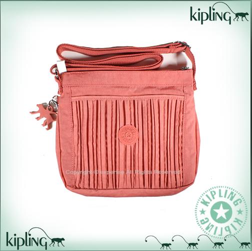 【騷包館】【Kipling】BASIC系列 直立抓皺小包==粉橘 K-375-6614-247