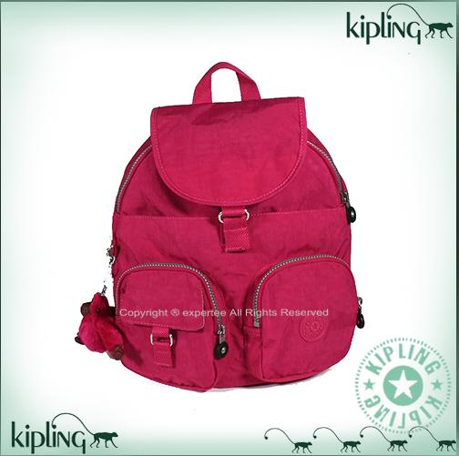 【騷包館】【Kipling】BASIC系列 雙口袋造型輕型後背包 大 桃紅 K-375-3116-125