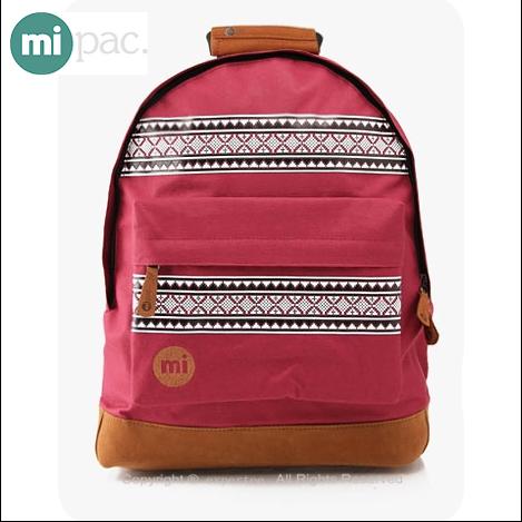 【騷包館】【mi pac】英國時尚 北歐系列 民俗圖騰後背包==酒紅 MIPAC-B02-1R