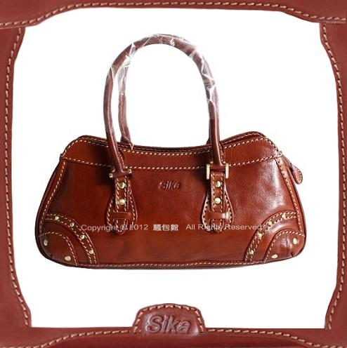 【騷包館】Sika 義大利牛皮 鉚釘個性款手提包 咖啡色M6057-01