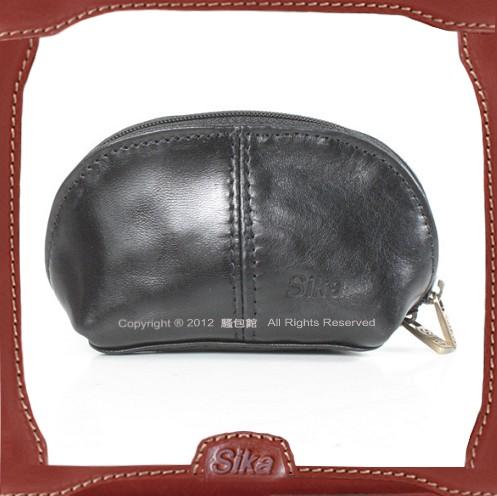【騷包館】Sika 義大利牛皮 車線金元寶零錢包 黑色A8259-03