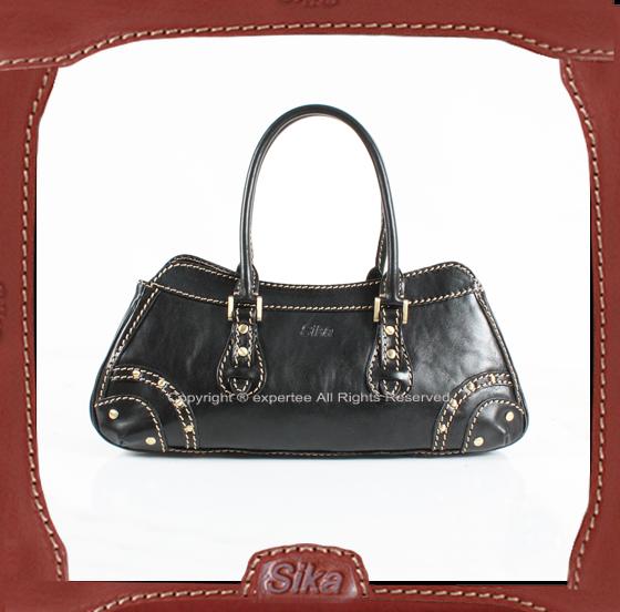【騷包館】Sika 義大利牛皮 鉚釘個性款手提包 黑色 M6057-03