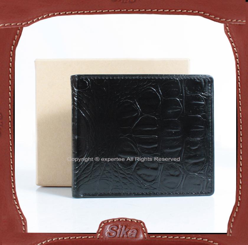 【騷包館】Sika 義大利牛皮 精品獸皮款 基本款對開短夾 黑色 S8253-03