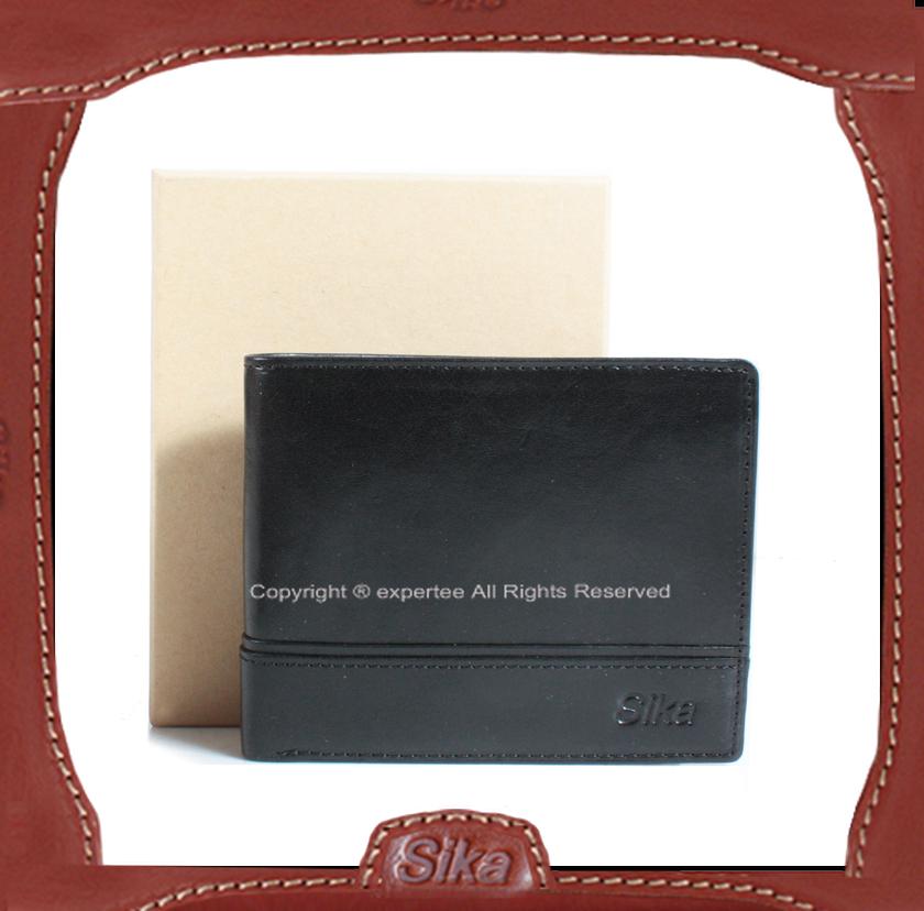 【騷包館】Sika 義大利牛皮 紳士款對開短夾 黑色 A8256-03