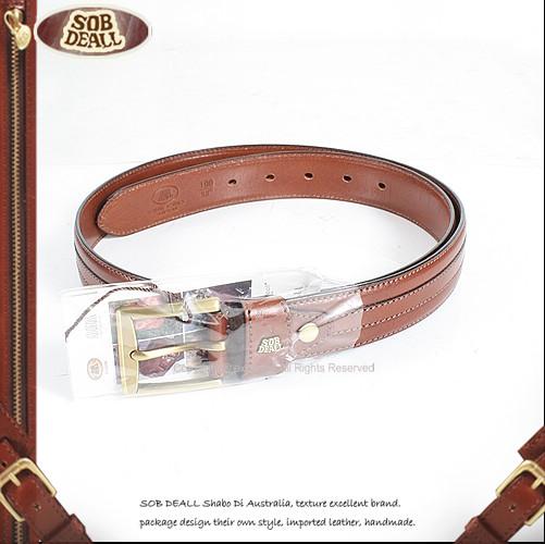 【騷包館】SOB DEALL 沙伯迪澳 牛皮 中線條造型皮帶 咖啡色 20601001802