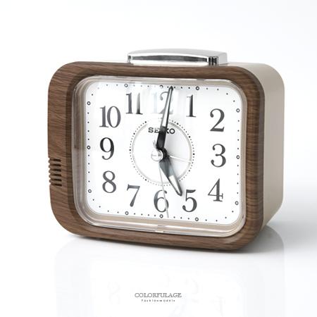 SEIKO精工鬧鐘 自然風淺咖木紋桌鐘 滑動式靜音秒針 指針夜光功能 柒彩年代【NV6】原廠公司貨