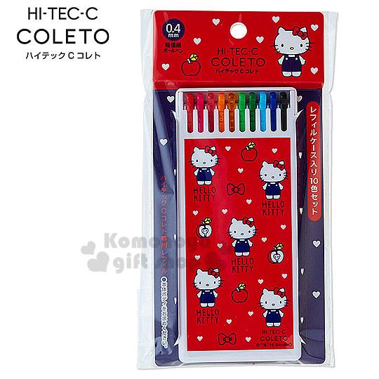 〔小禮堂〕Hello Kitty 極細替換筆芯《紅.站姿.白色愛心.共10色 0.4mm 筆芯》百樂Pilot系列