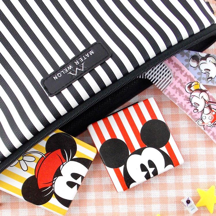 【Disney 】可愛方形雙面折疊鏡/化妝鏡/隨身鏡-直條紋