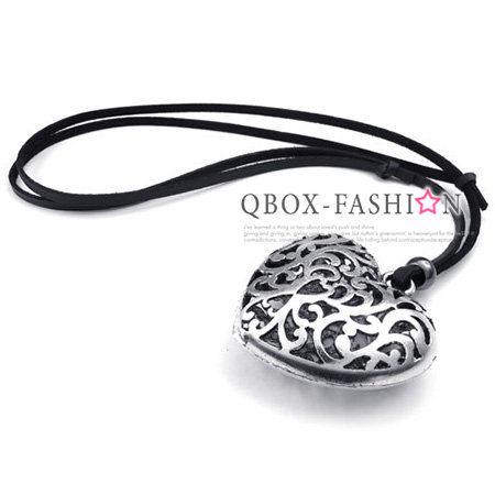 《 QBOX 》FASHION 飾品【 W10023064】精緻個性鏤空華麗心型合金皮革墬子項鍊